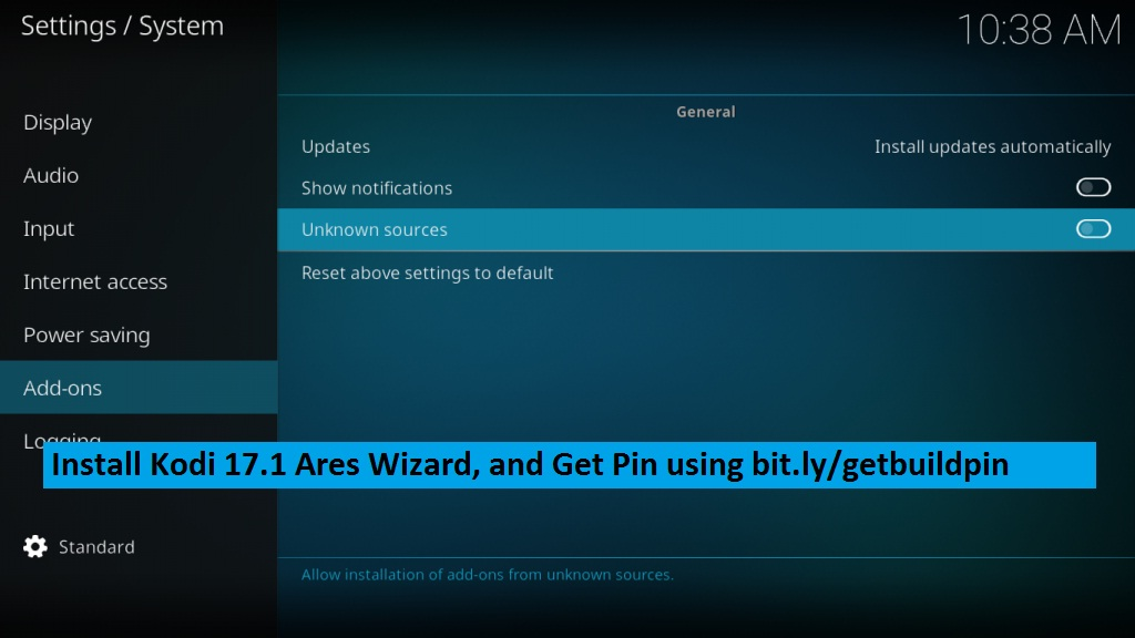 Steps to Install Kodi 17.1 Ares Wizard, and Get Pin using bit.ly/getbuildpin