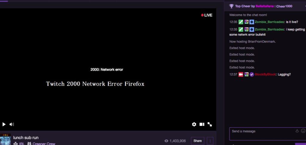 Twitch 2000 Network Error Firefox Fix